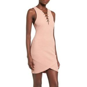 ASTR Small Bodycon Tank Dress Blush Pink Lace Up